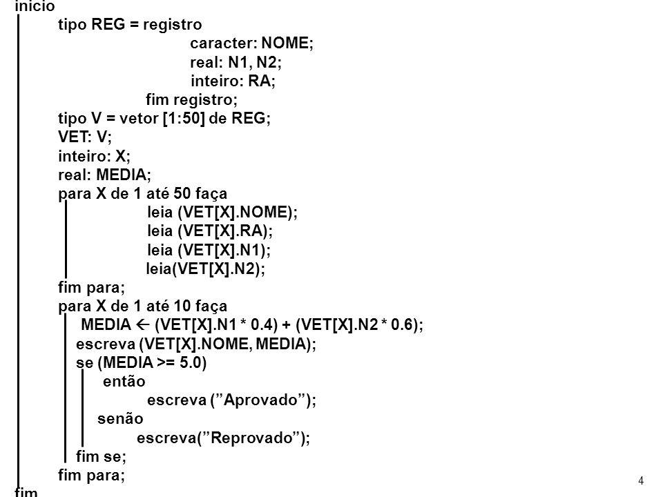 tipo V = vetor [1:50] de REG; VET: V; inteiro: X; real: MEDIA;